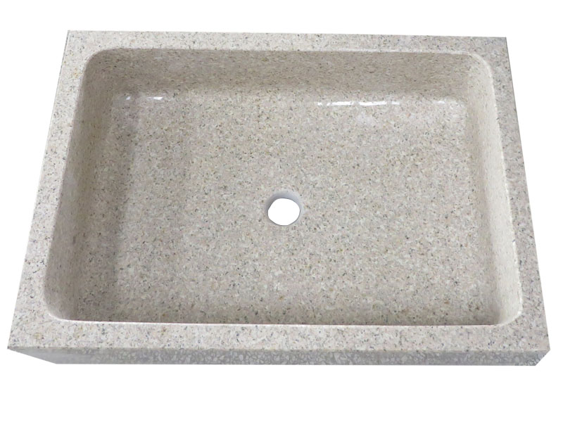 Rectangular Wash Basin With Yellow Granite For Bathroom