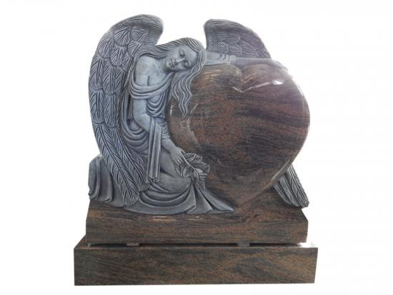 Carved Rose Granite Angel Monuments Holding Heart
