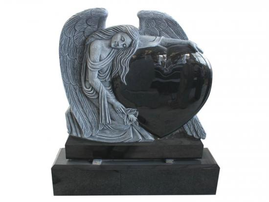 Black Granite Heart Angel Monument