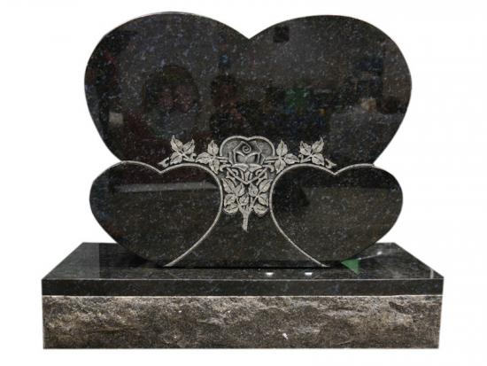 Double Heart Shaped Headstones Carved Rose