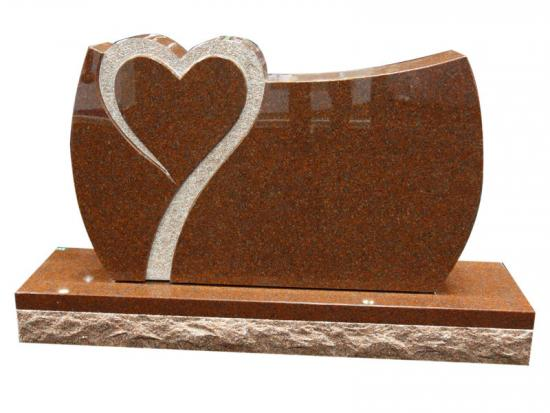 Red Granite Headstones With Hearts