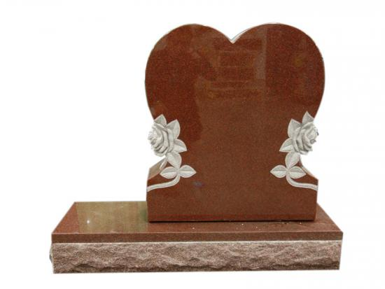 Carved Rose Love Heart Headstones