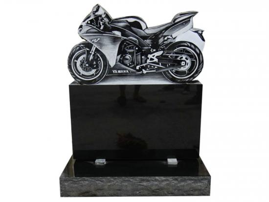 Motorcycle Headstones With Black Granite