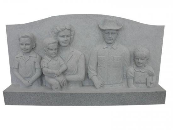 Headstones With Carved Happy Family