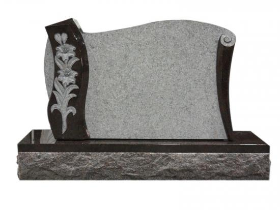 Carved Lily Headstone Scroll Shape Design