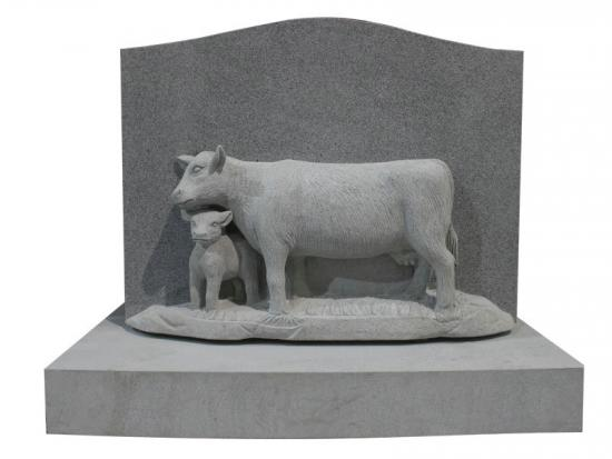 Affordable Hand Carved Cows Headstone