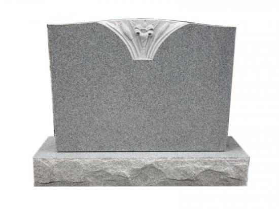 Grey Granite Engraved Flowers On Headstones