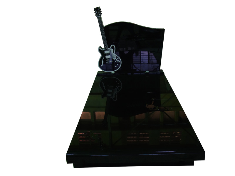 Guitar Shaped Headstones With High Quality Black Granite