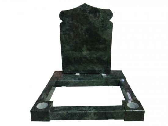 Green Granite Headstones With Kerbs And Posts Design